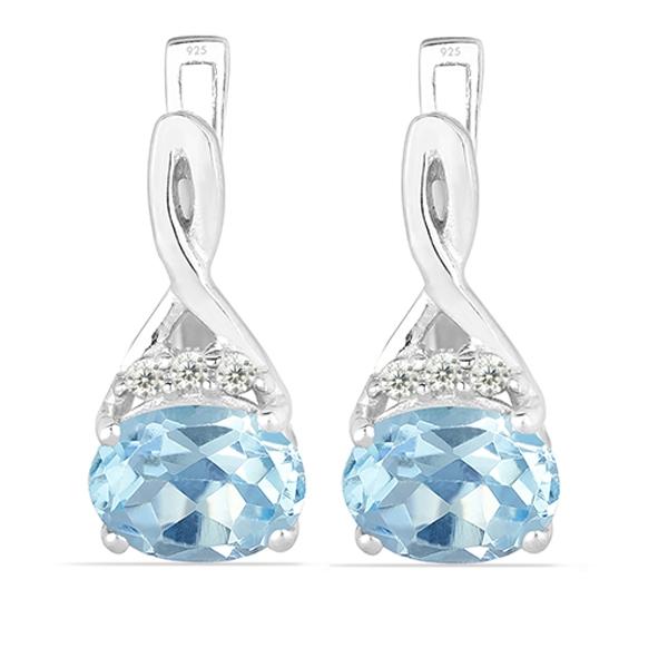 Cercei argint Grace, 925, cu topaz albastru si zirconiu alb - EVA0011 0