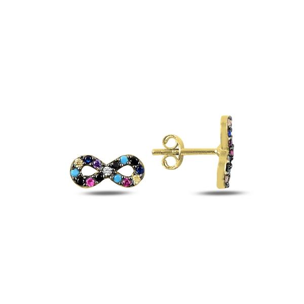 Cercei argint infinit cu zirconii multicolore, placati cu aur - ETU0190 0