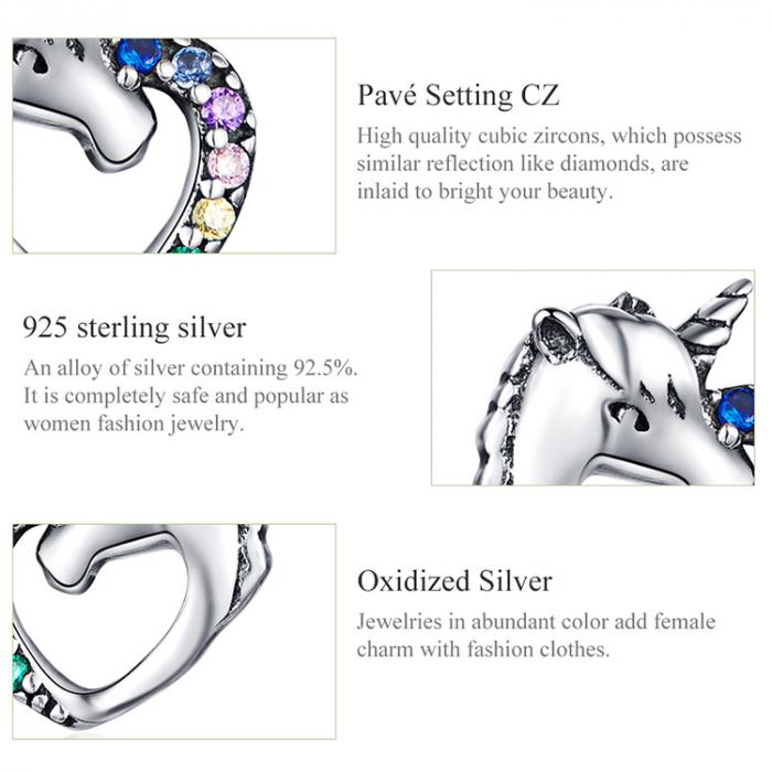 Cercei argint inima de Unicorn 6