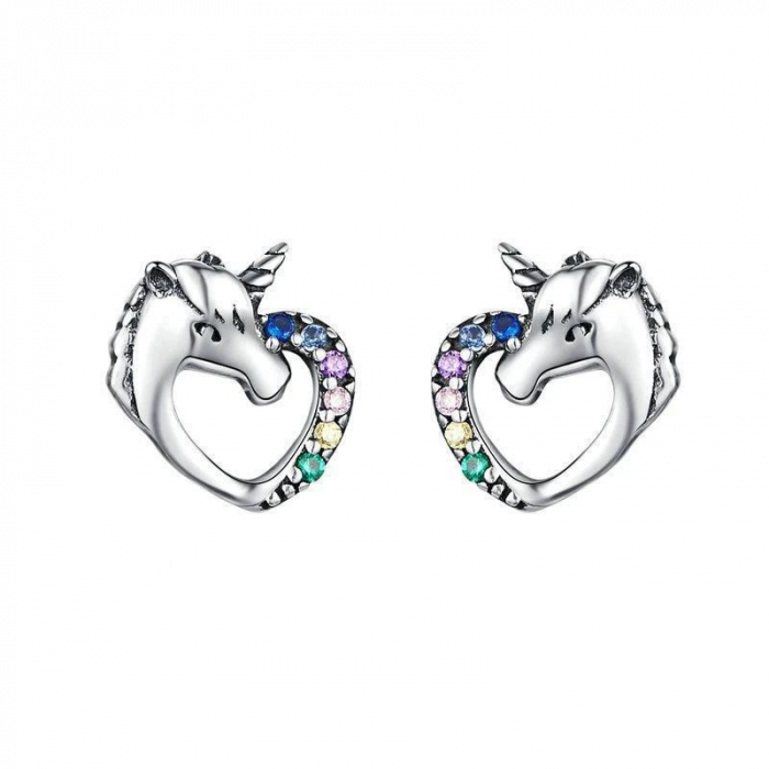 Cercei argint inima de Unicorn 0