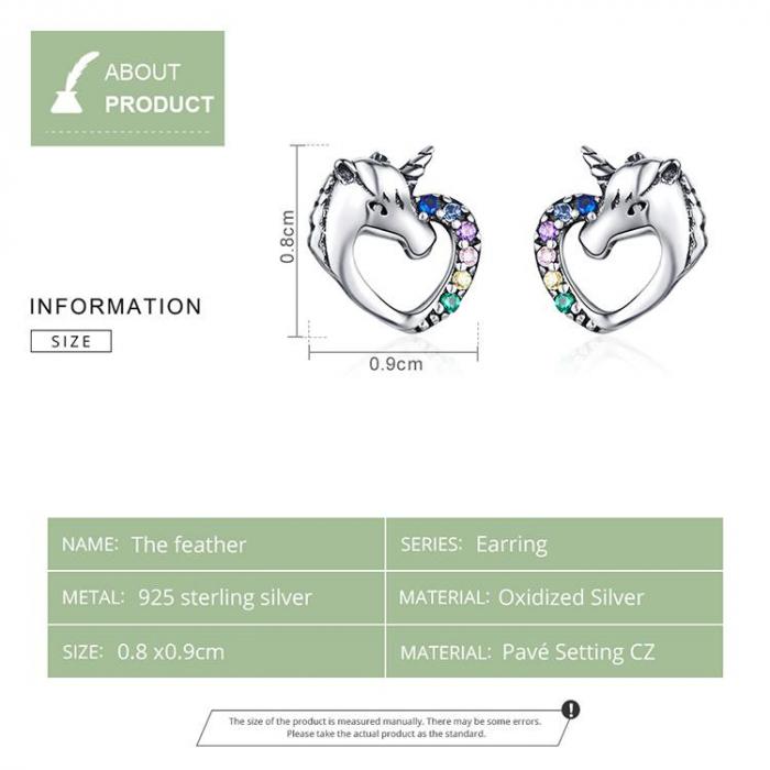 Cercei argint inima de Unicorn 5