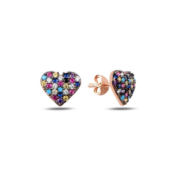 Cercei argint inimioara cu zirconii multicolore, placati cu aur roz - ETU0195 0