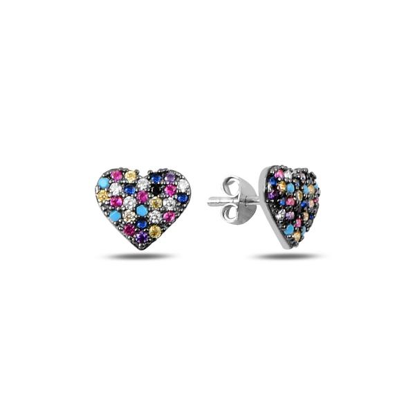 Cercei argint inimioara cu zirconii multicolore, placati cu rodiu - ETU0197 0