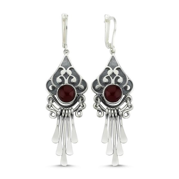 Cercei argint lungi cu agate rosii, handmade [0]