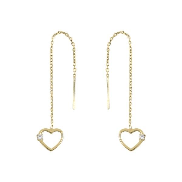 Cercei argint lungi cu inimioara si zirconii, placati cu aur 0
