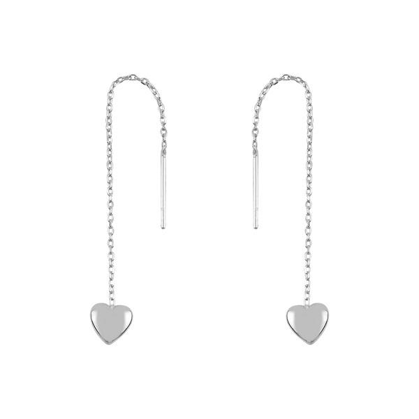 Cercei argint lungi cu inimioara si zirconii, placati cu rodiu 0