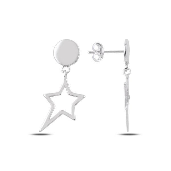 Cercei argint placat cu rodiu cu steluta - ETU0183 0