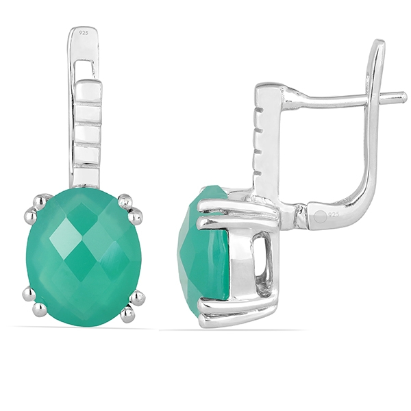Cercei argint Princess, 925, cu agat verde - EVA0005 1