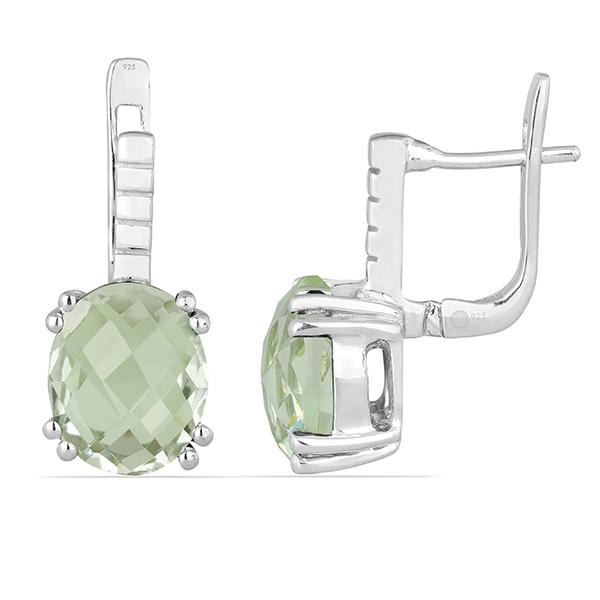 Cercei argint Princess, 925, cu ametist verde - EVA0004 1