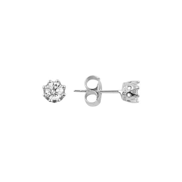 Cercei argint Solitaire coroana cu zirconii [0]