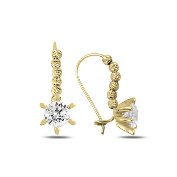 Cercei argint Solitaire cu zirconii albe placati cu aur galben - ETU0198 0