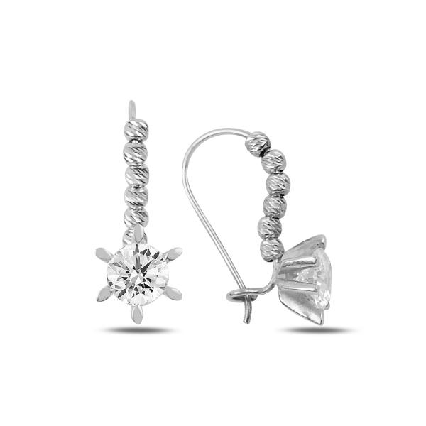 Cercei argint Solitaire cu zirconii albe placati cu rodiu - ETU0199 0