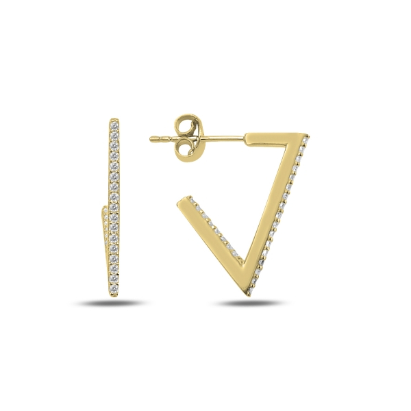 Cercei argint triunghi incomplet cu zirconii albe, placati cu aur - ETU0187 0
