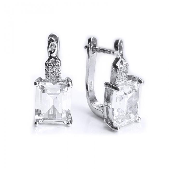 Cercei eleganti din argint 925 rodiat cu zirconii - CER0749 - Be Eelegant 0