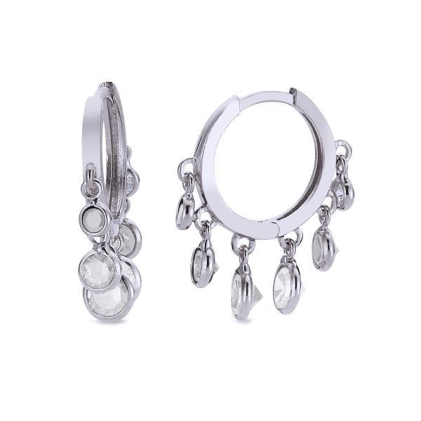 Cercei creole din argint 925 cu zirconii albe Be Elegant 0