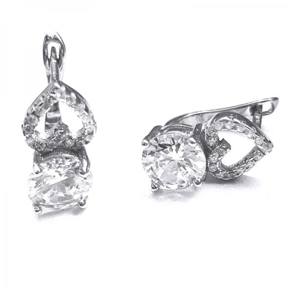 Cercei cu inimioare din argint 925 rodiat si zirconii 1