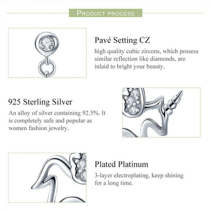 Cercei din argint Baby Unicorn 3