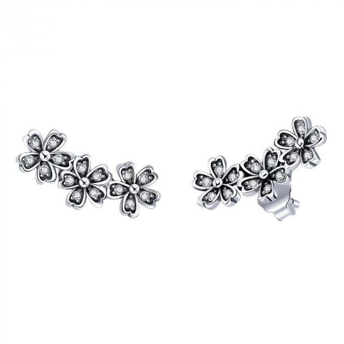 Cercei cu surub flori de cires cu cristale [0]