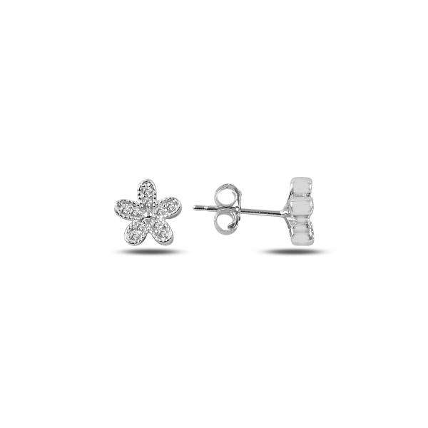 Cercei cu floricele din argint placat cu rodiu - ETU0150 0