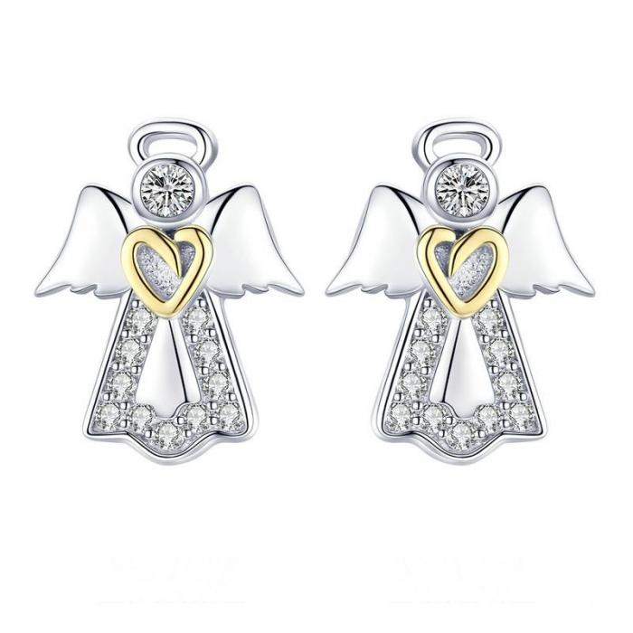 Cercei din Argint Ingeri Pazitoricu Inimioara Aurie si Zirconii 0