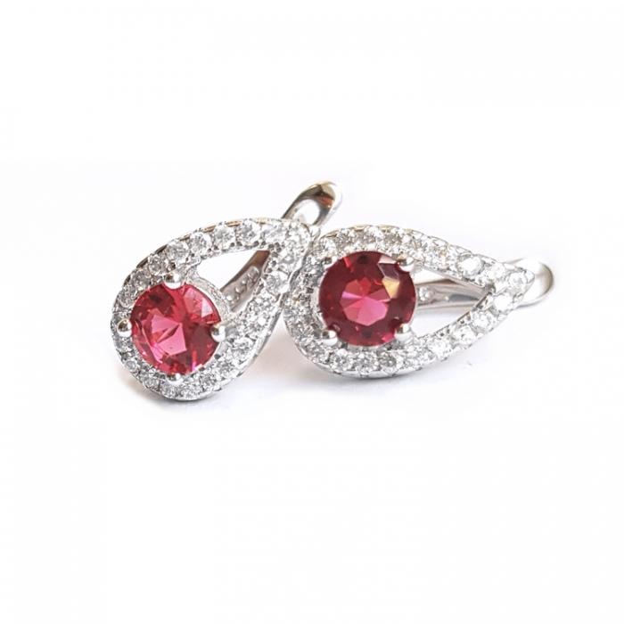 Cercei eleganti din argint 925 cu zirconii roz CER0826 0
