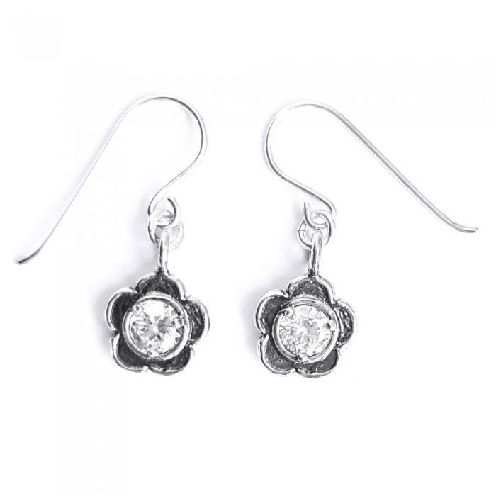Cercei eleganti din argint 925 Israel cu floricele si zirconii - EPO0041 0