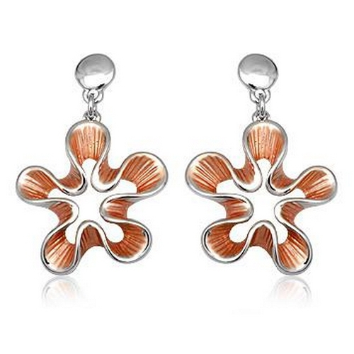 Cercei eleganti floare cu metal rodiat 0