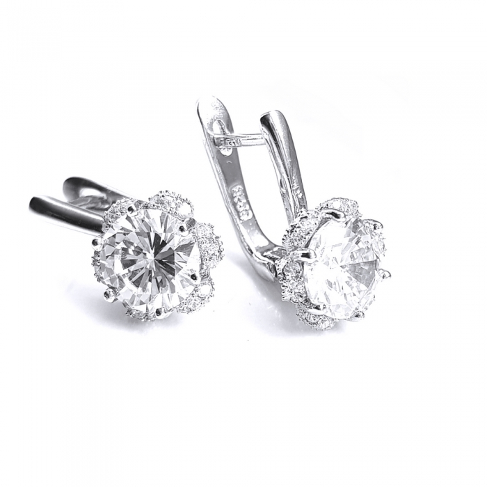 Cercei eleganti din argint 925 rodiat si zirconii CER0747 - Be Nature 0