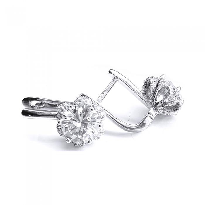 Cercei eleganti din argint 925 rodiat si zirconii CER0747 - Be Nature 2