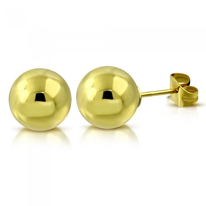 Cercei inox cu bilute aurii 5 mm 0