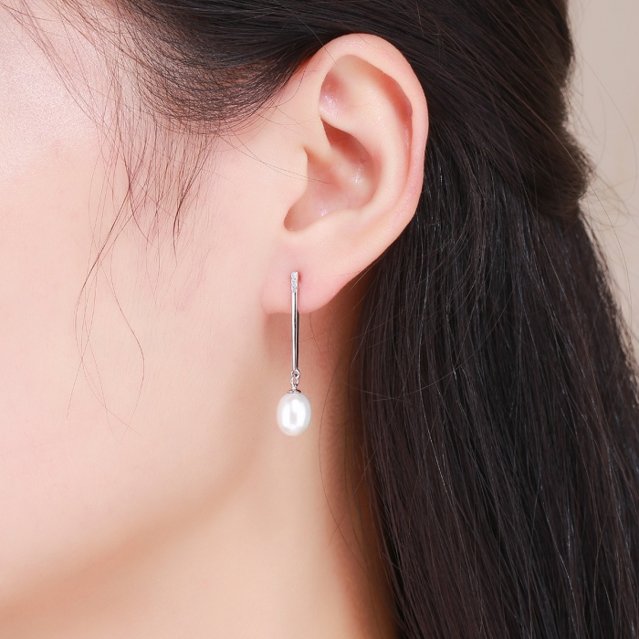 Cercei lungi din argint 925 cu perle fine si zirconii albe - Be Elegant EST0010 5