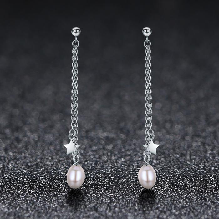 Cercei lungi din argint 925 cu perle fine, stelute si zirconii albe - Be Elegant EST0011 1