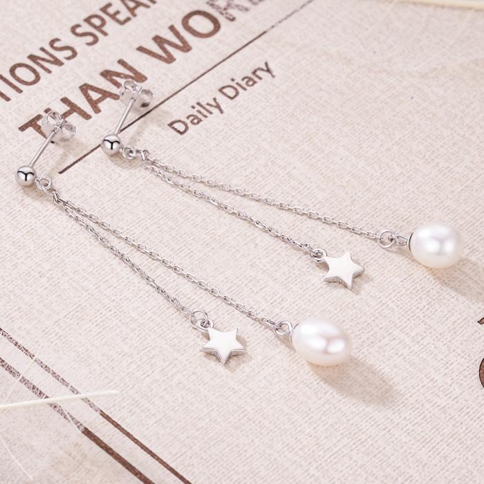 Cercei lungi din argint 925 cu perle fine, stelute si zirconii albe - Be Elegant EST0011 3