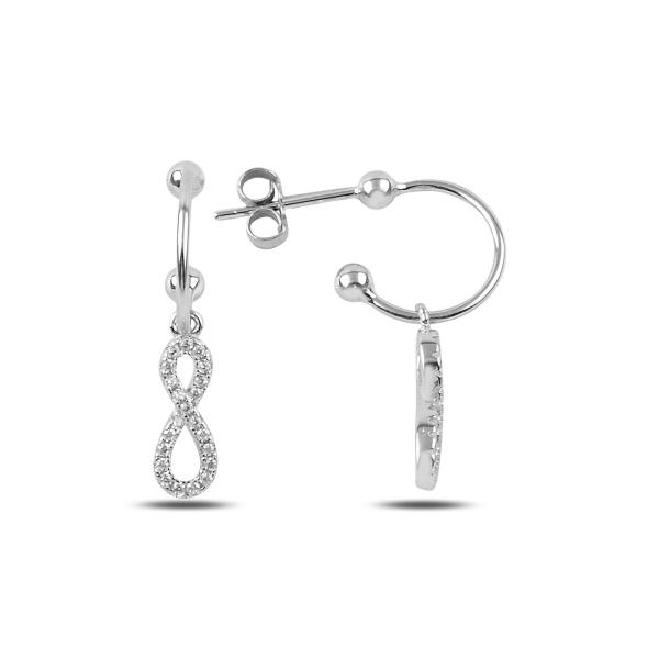 Cercei lungi din argint cu simbolul infinit si zirconii albe placat cu rodiu - ETU0149 0