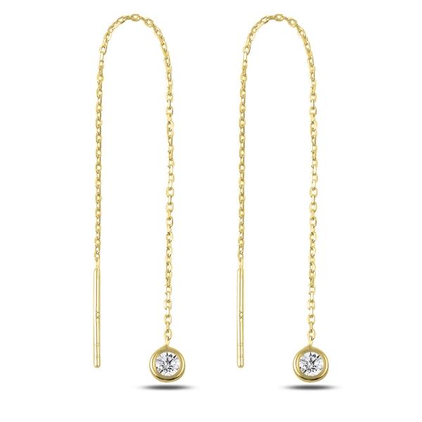 Cercei lungi din argint placat cu aur si zirconii albe  - ETU0177 0