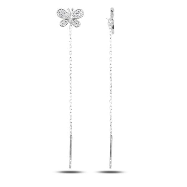 Cercei lungi din argint placat cu rodiu, cu fluturasi - ETU0134 0
