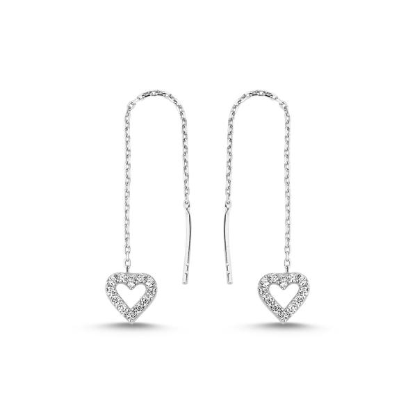 Cercei lungi din argint placat cu rodiu, inimioare si zirconii albe  - ETU0105 [0]