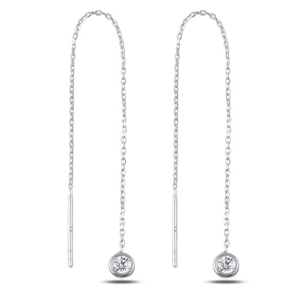 Cercei lungi din argint placat cu rodiu si zirconii albe  - ETU0178 0