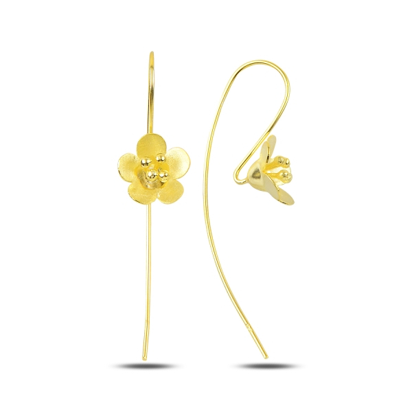 Cercei lungi floare din argint placati cu aur - ETU0200 0