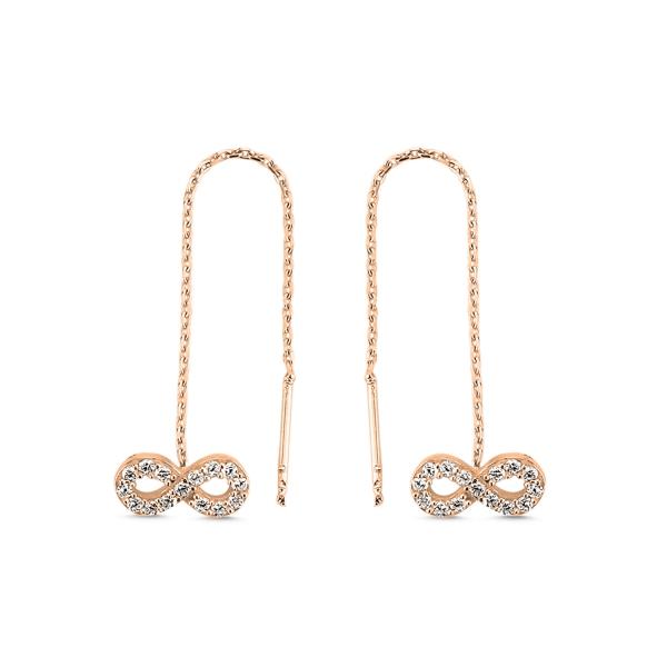 Cercei lungi Infinity din argint 925 cu zirconii placati cu aur roz [0]