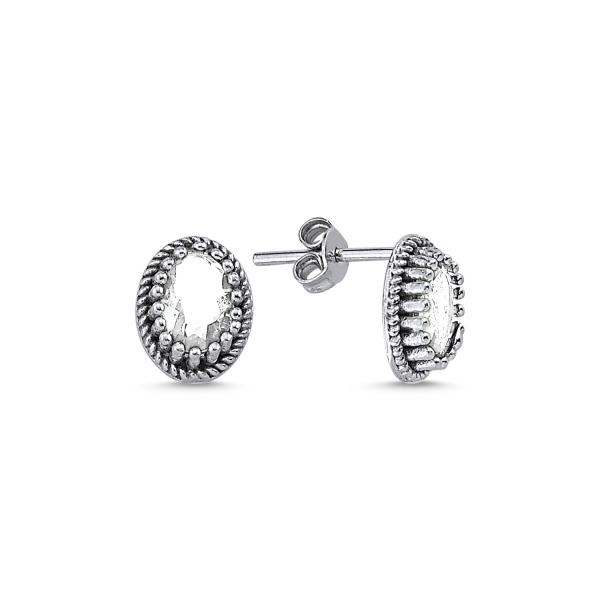 Cercei ovali argint 925 cu zirconii - Be Elegant ETU0090 0