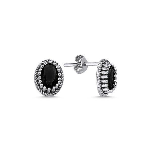 Cercei ovali argint 925 cu zirconii negre - Be Elegant ETU0089 0
