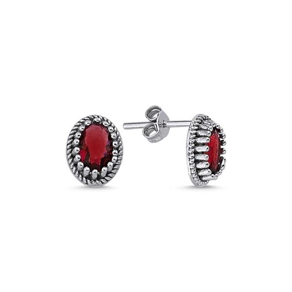 Cercei ovali argint 925 cu zirconii rosii - Be Elegant ETU0091 0