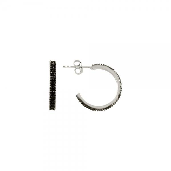 Cercei rotunzi argint 925 cu zirconii negre - Be Elegant ETU0060 0