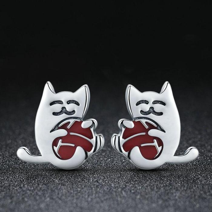 Cerecei argint pisicuta cu ghem 1
