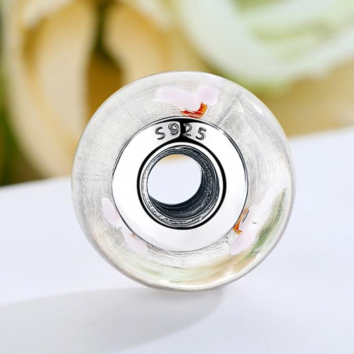 Charm argint 925 alb cu floricele roz - Be Nature PST0074 [3]