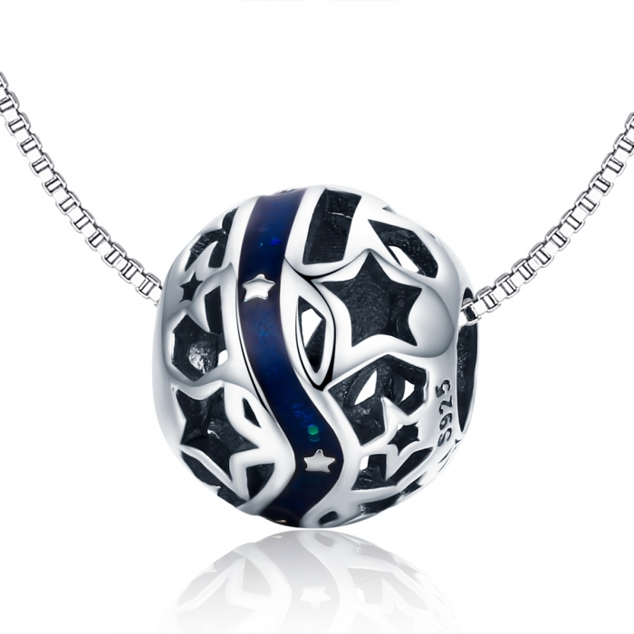 Charm argint 925 albastru cu stelute argintii - Be Nature PST0125 6