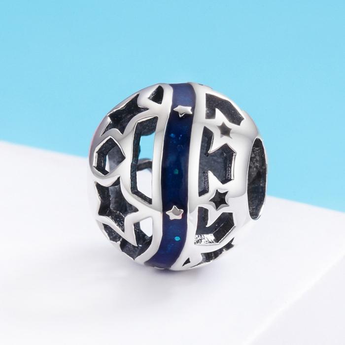 Charm argint 925 albastru cu stelute argintii - Be Nature PST0125 2