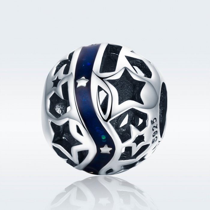Charm argint 925 albastru cu stelute argintii - Be Nature PST0125 1
