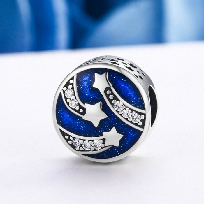 Charm argint 925 albastru cu stelute argintii si zirconii albe - Be Nature PST0089 3